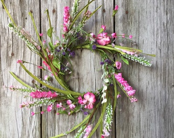 Spring Wreath with Pink, Cream and Purple Flowers