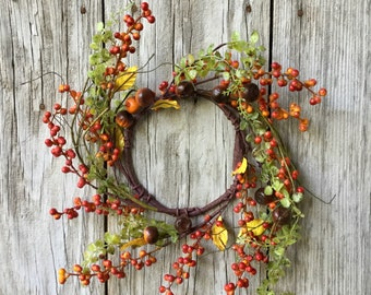 Fall Baby Grass and Berry Wreath with Mini Pumpkins