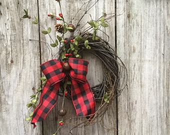 Natural Twig Wreath with Rusty Bells and Winter Greens