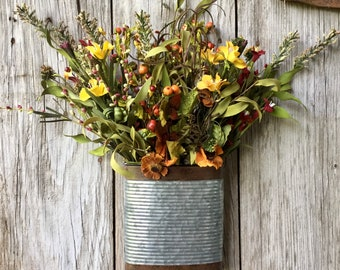 Metal Wall Pocket with Fall Flowers and Berries
