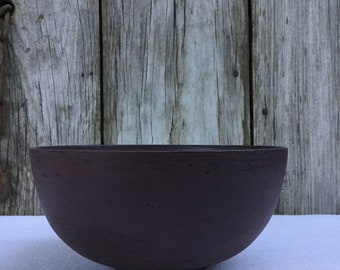 Distressed Burgundy Wood Bowl