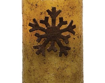 Flameless Pillar Candle with Rustic Snowflake