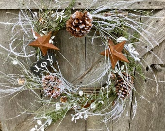 Christmas Icy Pine Wreath with Rusty Stars, Pine Cones and Primitive Sign