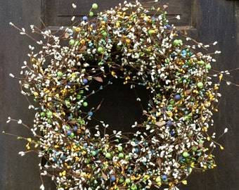 Summer Country Grapevine Wreath with Mixed Berries