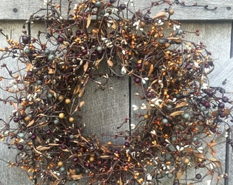 Rustic Fall Wreath With Plum, Blue and Brown Pip Berries