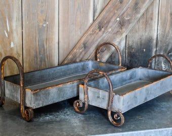 Galvanized Handled Tray Set