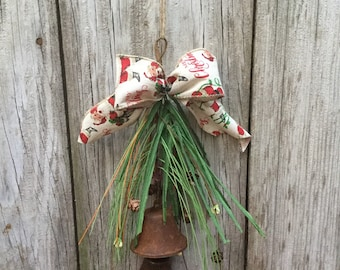 Rusty Bell Hanger with Pine Cones, Berries and Holiday Ribbon, Christmas Bells, Jingle Bell, Sleigh Bells, Christmas Decor, Rusty Bell