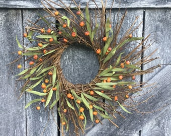 Fall Wreath with Mini Pumpkins and Leaves