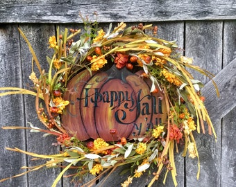 Fall Grapevine Pumpkin Wreath with Sunflower Bouquet