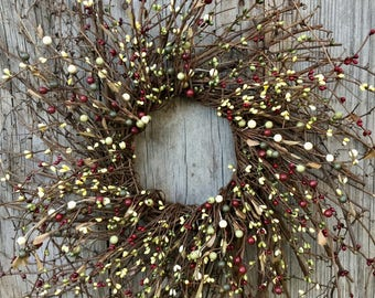 Christmas Wreath with Red and Green Pip Berries