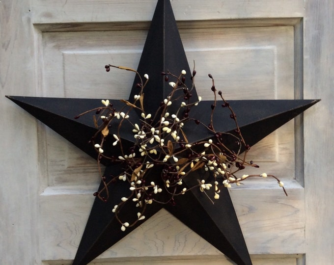 Featured listing image: Primitive Black Barn Star with Pip Berries --Americana Star with Pip Berries - Americana Wall Decor -- Rustic Star --FREE SHIPPING