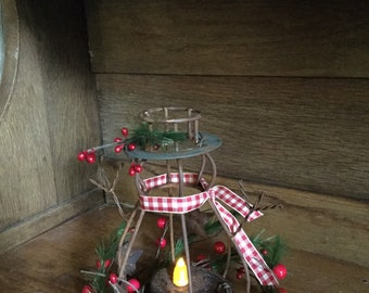 Metal Christmas Tree Tea Light Holder with Feather Pine and Pip Berries