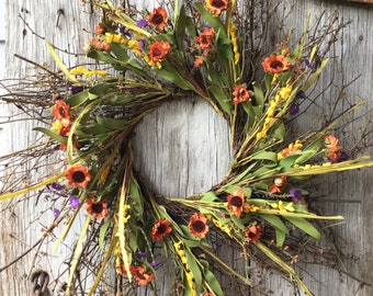 Fall Wreath with Fall Daisies, flowers and Berries
