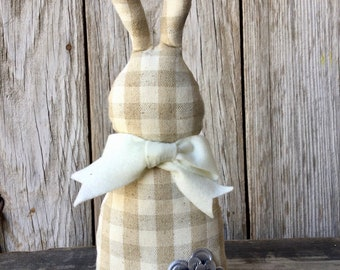 Gingham Easter Bunny Shelf Sitter
