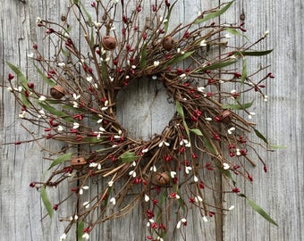 Christmas Twig Wreath with Red & Cream Berries with Rusty Jingle Bells