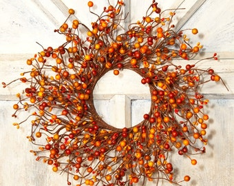 Orange Pip Berry Wreath,Large Candle Ring, Mini Wreath,Primitive Wreath,Halloween Wreath,Centerpiece, Primitive Decor,Free Shipping
