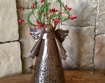 Rusty Tin Angel Candle Holder with Winter Florals and Pip Berries