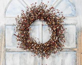 Fall Wreath with Orange, Mustard and Green Berries