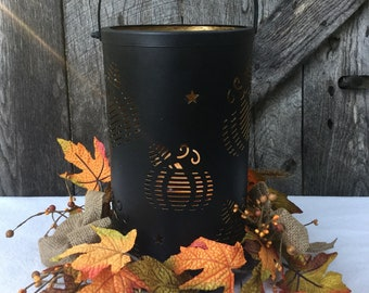 Pumpkin Luminary with Sunflowers, Pip Berries, and Burlap Bow