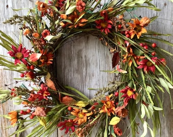 Fall Wreath with Mums, Berries and Leaves