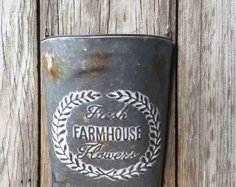 Metal Wall Pocket with Embossed Farmhouse Lettering