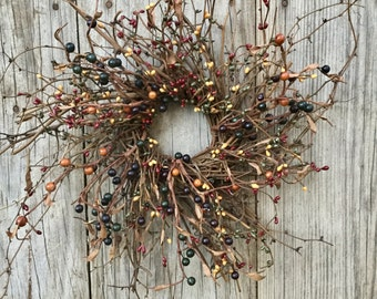 Twig Wreath with Navy Blue, Mustard, Tan, Burgundy and Green Pip Berries