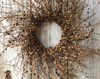 Twig Sunburst Wreath with Black and Tan Berries