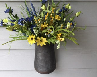 Summer Floral Arrangement with Blue and Yellow Flowers with Pip Berry Accents