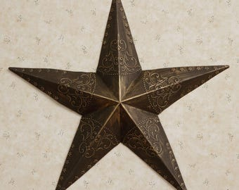 Rustic Tin Star with Embossed Stars and Scrolls
