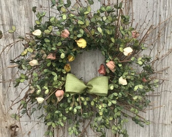 Twig Boxwood Wreath with Flower Buds