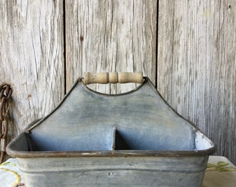 Galvanized Storage Caddy with Wood Handle