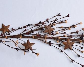 Burgundy, Tan and Brown Pip Berry Garland with Rusty Stars-Primitive  Berry Garland-Americana Decor-Primitive Decor-Rustic Decor-Free Ship