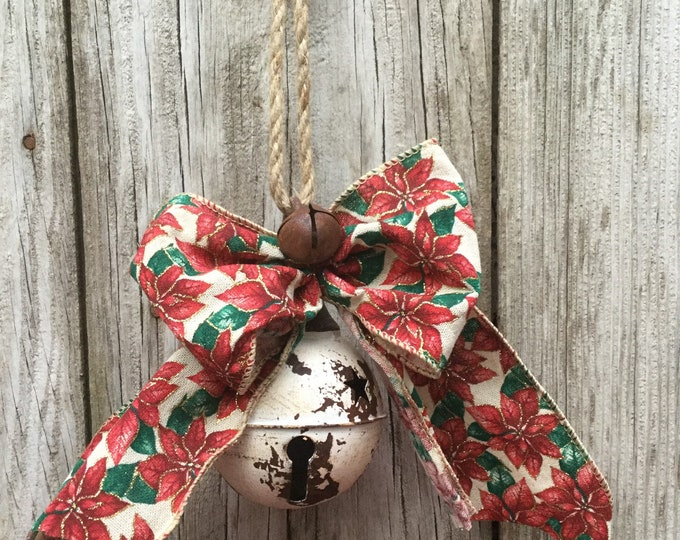 Featured listing image: Rustic White Bell with Gingham Bow