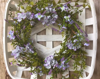 Rustic White Tobacco Basket with Purple Flower Wreath
