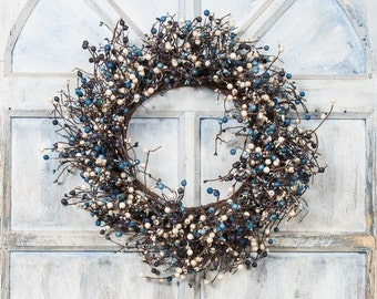 Pip Berry Wreath with Blue, Charcoal and Cream Mixed Berries