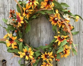 Sunflower Wreath, Summer Wreath, Fall Wreath, Autumn Wreath, Rustic Wreath, Farmhouse Decor, Primitive Decor, Free Shipping
