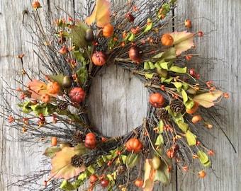 Pumpkin, Pine Cone and Acorn Wreath