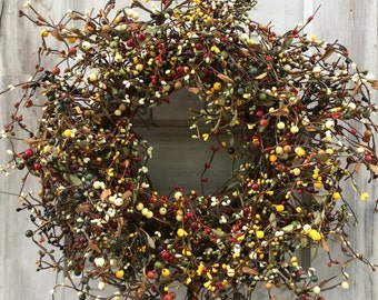 Rustic Christmas Wreath with Mixed Pip Berries
