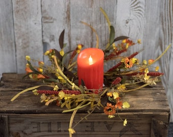 Fall Wreath with Bright Fall Flowers, Berries and Fall Foliage