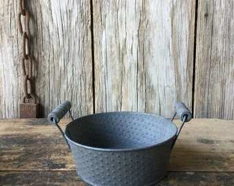 Galvanized Metal Pots with Handles