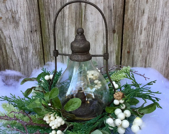 Featured listing image: Christmas Lantern with LED light and Winter Greens