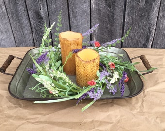 Summer Floral Centerpiece in Metal Tray
