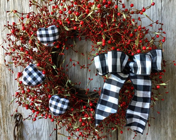 Featured listing image: Valentines Wreath with Red Berries and Buffalo Check Hearts, Valentine's Day, Love Wreath, Red Wreath, Wedding Wreath, Farmhouse Decor