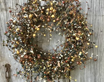 Fall Wreath with Orange, Brown and Green Pip Berries
