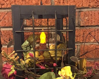 Primitive Black Lantern with Pip  and Floral Candle Ring