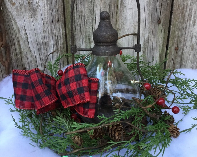 Featured listing image: Christmas Lantern with LED Light and Winter Greenery