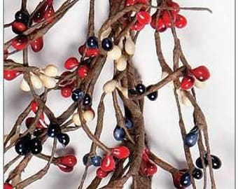 Red, Navy Blue and Cream Pip Berry Garland,Primitive Home Decor,Rustic Decor,July 4 Garland,Holiday Garland,Country Home Decor,Free Shipping