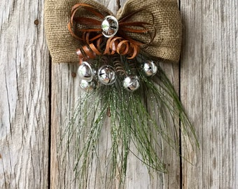 Glitter Pine Swag with Burlap and Rusty Bows, Silver Bells and Pine