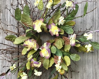 Primitive Twig Wreath with Purple and Yellow Flowers