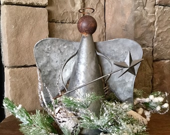 Galvanized Angel with Snowy Pine and Pine Cones